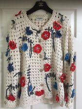 Chanel 10P JACKET SKIRT SET CAMELLIA FLOWERS TWEED CROCHET Gold CC buttons FR38