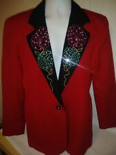 Made in the USA Christmas Red Taylored Womens Dress Jacket. Size XS