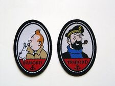 "Tintin & Haddock Very Rare Pair Of Exclusives Patches ""Broderies"" Brand New"