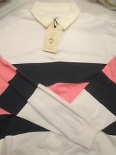 Barbour Cotton Folkstone White / Blue & Pink Rugby Sport Shirt NWOT Small $229