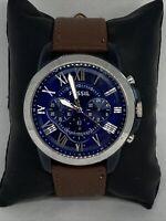 Fossil FS4735 Men's Brown Leather Analog Blue Dial Quartz Genuine Watch HK1099