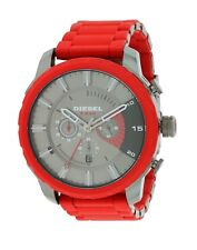 Diesel DZ4384 Stronghold Gunmetal Red Silicone Band Chronograph 51MM AUTHENTIC