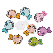 6 Wood Novelty Mixed Colour Bubble Fish Sewing Craft Buttons 3.4mm, Fun button