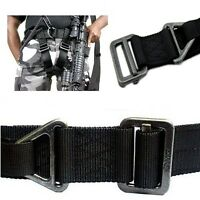 Black Military Outdoor Airsoft Tactical Emergency Steel Buckle Rescue Nylon Belt