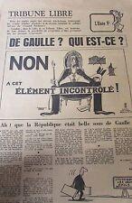 Zeitung Satirischer Politik Karikatur De Gaulle Mai 1968 Element Incontrôlé