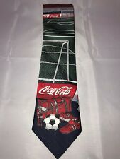 Coca Cola Classic Official Brand Soccer Ball Cleats Field Theme Classic Neck Tie