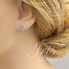 Cubic Zirconia 925 Sterling Silver Cross Stud Earrings With Micro Pave 03086