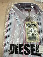 Mens Diesel Long Sleeved Shirt BNWT White  Stripe Size 2