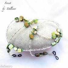 ✫ Forest ✫ GREEN SHELL Perline EYEGLASS OCCHIALI Collana Catena Corda titolare