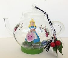 Disney Parks Alice in Wonderland Teapot Clear Glass Ornament NWT