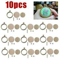 Bamboo Cross Circle Stitch Hoops Embroidery Ring for Arts Crafts Sewing 10pcs