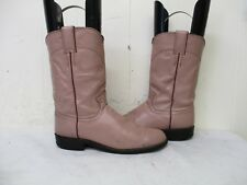 Justin Pink Leather Roper Cowboy Boots Womens Size 7 B Style L3065 USA