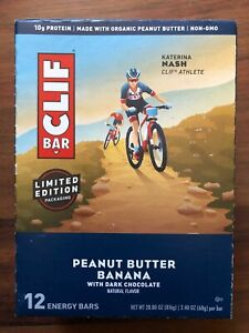 CLIF BARS, Peanut Butter Banana with Dark Chocolate, 2.4 Oz, Pack of 12