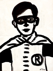 Robin Original Art Painting on 1912 Antique French Paper Batman Neal Turner NR