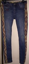 Awesome Desigual Straight Leg Jeans Pants Size 26 Woven Design Sides