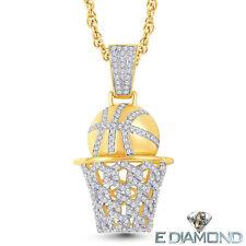 10 Karat Solid Gold, Diamond Basket Ball Hoop pendant, 0.59 CTS Natural Diamonds