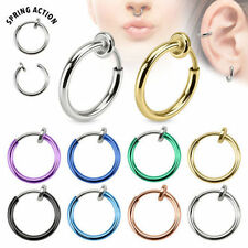 Spring Loaded Fake Faux Piercing Ring Nose Eyebrow Ear Septum Clip on Upper Ear