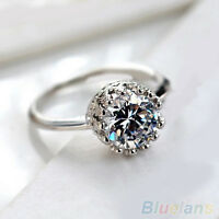 Luxury Women Round Cut CZ Princess Crown Bridal Engagement Wedding Party Ring