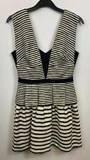 BCBGMaxazria Ladies Dress Mini Sleeveless A-line V-neckline Striped Size 4