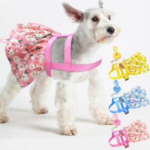 Floral Dog Skirt With Leash Fashion Dress Clothes Puppy Adjustable Harness Pink