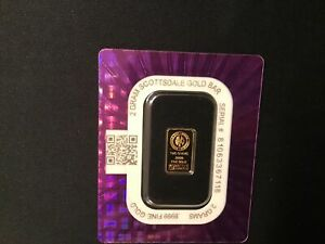 Scottsdale 2 gram 999.9 Fine Gold Bar in Sealed Assay