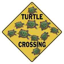 "Turtle Metal Crossing Sign 16 1/2"" x 16 1/2"" Diamond shape Made in USA #07"