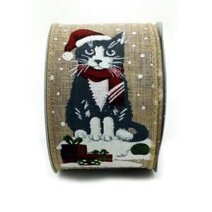 "Wire Edge Christmas Burlap Hessian Ribbon 63mm (2.5"") wide per metre Cat"