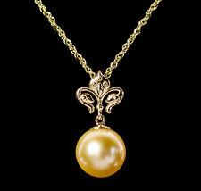 Golden South Seas Pearl Fleur de Lis Pendant Necklace 14K Yellow Gold 18 Inch