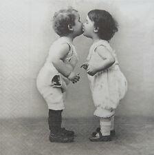 4 Single paper decoupage napkins. Vintage design. Kissing couple-193