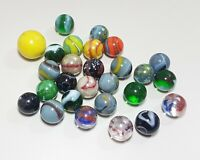 Vintage Lot of 25+ Marbles ~ Swirls & More ~ Yellow Orange Green Blue