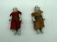 """2 RARE Antique German Victorian Dollhouse Dolls Porcelain Bisque Doll 3"""""""
