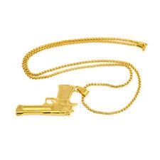 Punk Rock Gun Shape Pendant Hip Hop Necklace Chain Gold Plated Jewelry