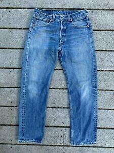 VTG 1990s LEVI 501 Button Fly Made In USA Denim Jeans 33x33 (31x30) *1995 Issue