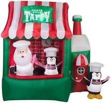 Animated North Pole Santa Taffy Stand Christmas Gemmy Airblown Inflatable Decor