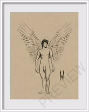 ORIGINAL NUDE MALE  ANGEL FIGURE 8x10 MIXED MEDIA DRAWING