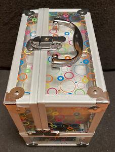 Caboodles VTG Makeup Train Case Clear Colorful Circles Handle Latch Lrg