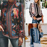 Women's Vintage Boho Tops Long Sleeve Stand Collar Hollow Chiffon Shirt Blouse