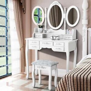White Tri-Folding Mirror Vanity Set 7 Drawers Dressing Table Makeup Desk & Stool