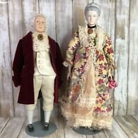 Vintage George Washington Martha Porcelain Dolls President Cloth Bodies & Stands