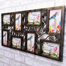 Family Multi Aperture Photo Picture Frame Holds 6''X4'' 8 Photos Vintage Copper
