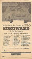 "Vintage BORGWARD - 1960 Black & White Flyer or Newsprint, 5 7/8"" by 10 7/8"""