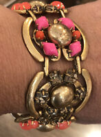 UNUSUAL BRACELET ADJUSTS SMALL REMOVABLE LINK GOLD TONE PINK ORANGE STELLA & DOT