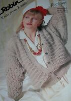 Original Robin Knitting Pattern Ladies DK Lacy Patterned Cardigan No 13988