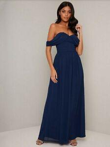 Chi Chi London Laine Chiffon Maxi Dress - Navy Size 14