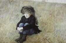 Vintage Art Andrew Wyeth 1952 Faraway Little Boy Racoon Hat Runaway Alone Boots