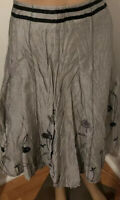 Per Una Womens Skirt Grey Silver Crinkle Floral Embroidered Uk Size 16 BNWT