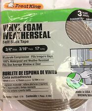 Frost King Vinyl Foam Weatherseal Self Stick Tape 3/4 X 3/16 X 17 Made in Usa