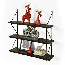 "3-Tier Display Wall Shelf Storage Book Photo Rack Holder, Espresso, Welland, 24"""