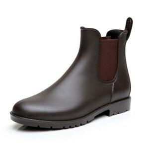 Lightweight Chelsea Rainboots Men's Black Rubber Low Ankle Boots US8