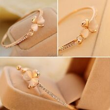 New Women Alloy Heart Bracelet Resin Rhinestone Hook Closure Bangle Fashion 35DI